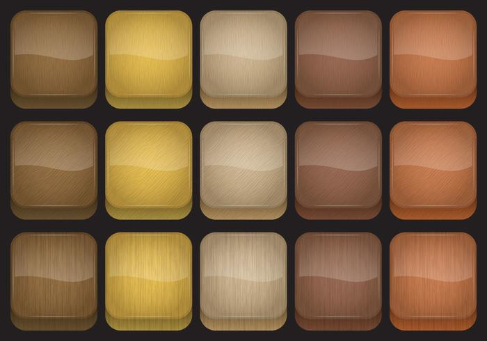 Wood App Button Vectors