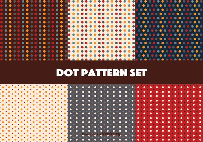 Retro Coloro Vector Dot Pattern Set