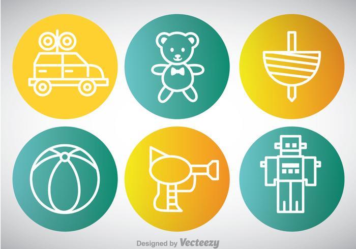 Iconos del círculo de los juguetes