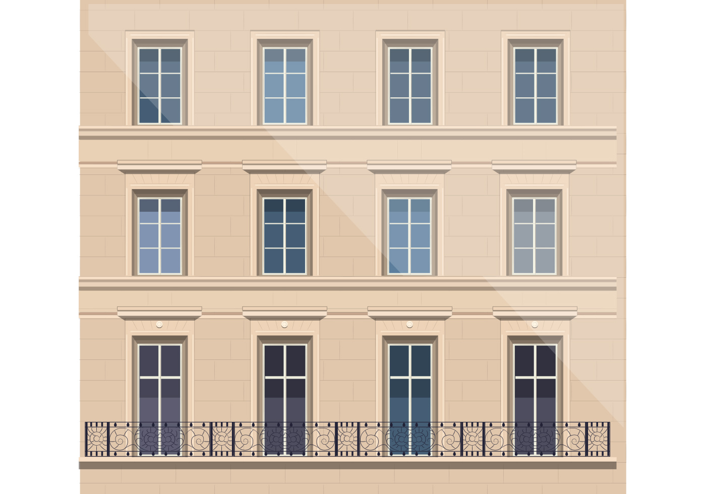 Architecture with balcony vector download free vector for Balcony vector