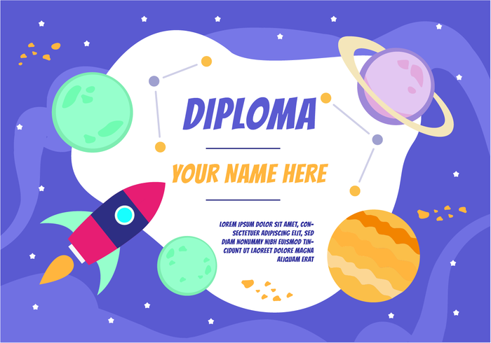 Customizable Cute Space Diploma Background vector