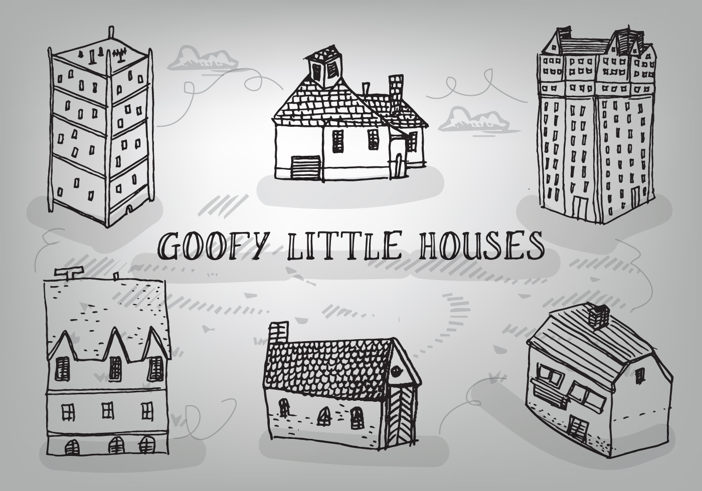 Free Hand Drawn Goofy Houses Vector Background Download
