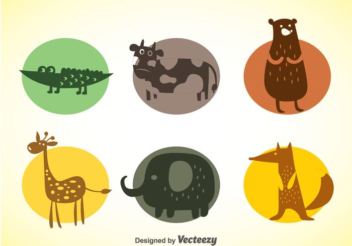 Animals Colors Icons Vector Set