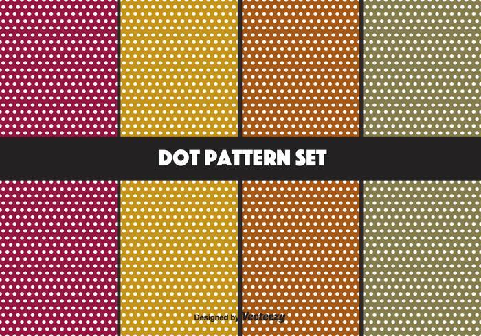 Conjunto retro de padrões de pontos coloridos
