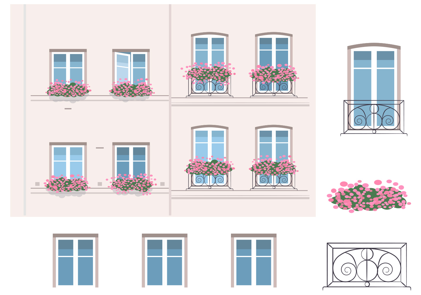 Architecture and balcony vector elements download free