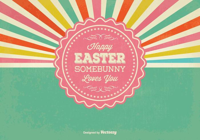 Retro Sunburst Style Easter Illustration