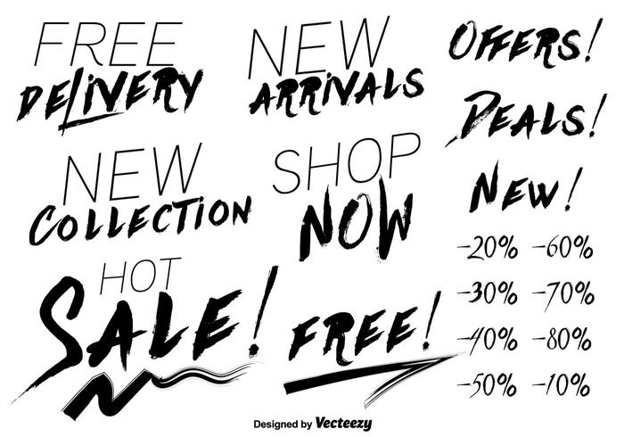Modern price discount lettering vectors