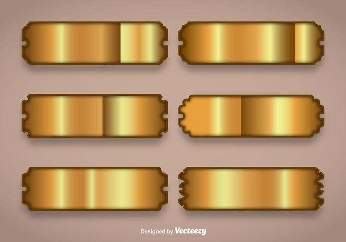 Shiny Gold Name Plate Vectors