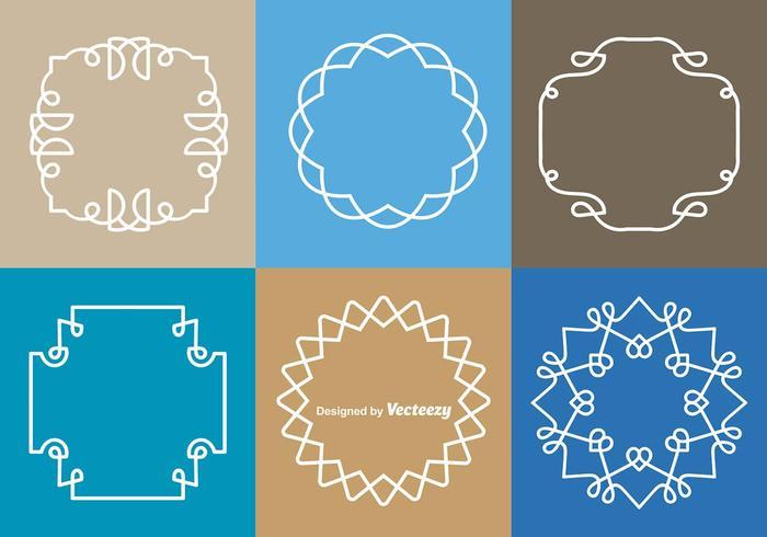 White Monograms Border Vectors