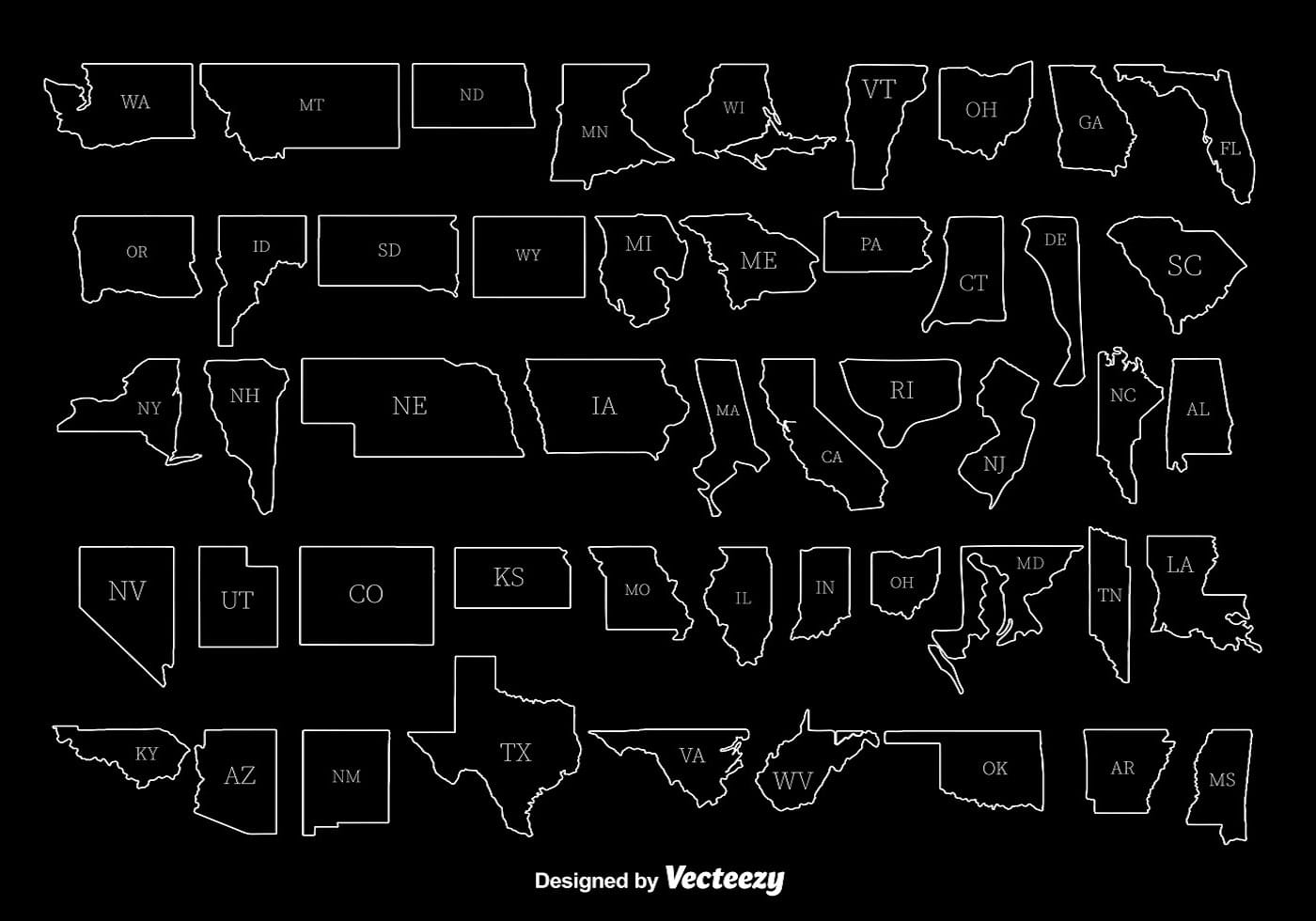 White State Outlines Vectors Download Free Vector Art