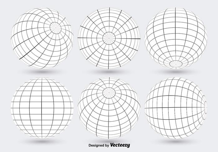 White Globe Grid Vectors