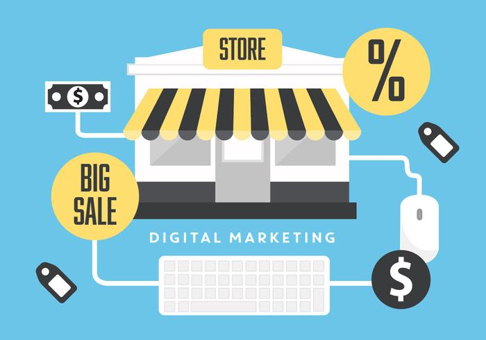 Free Flat Digital Marketing Vector Background with Store