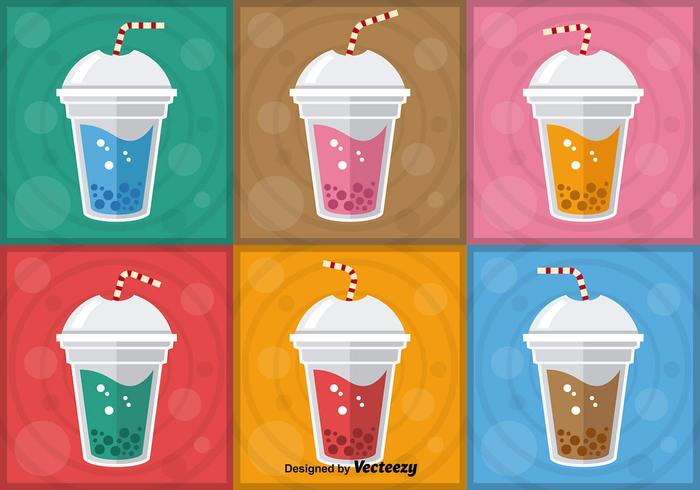 Färgglada Bubble Tea Vectors