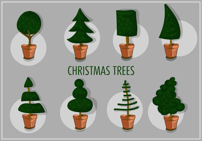 Free Set of Different Christmas Tree Vectors