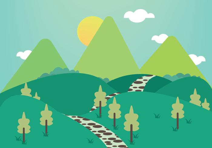Free Stone Path Mountains Illustration Vector