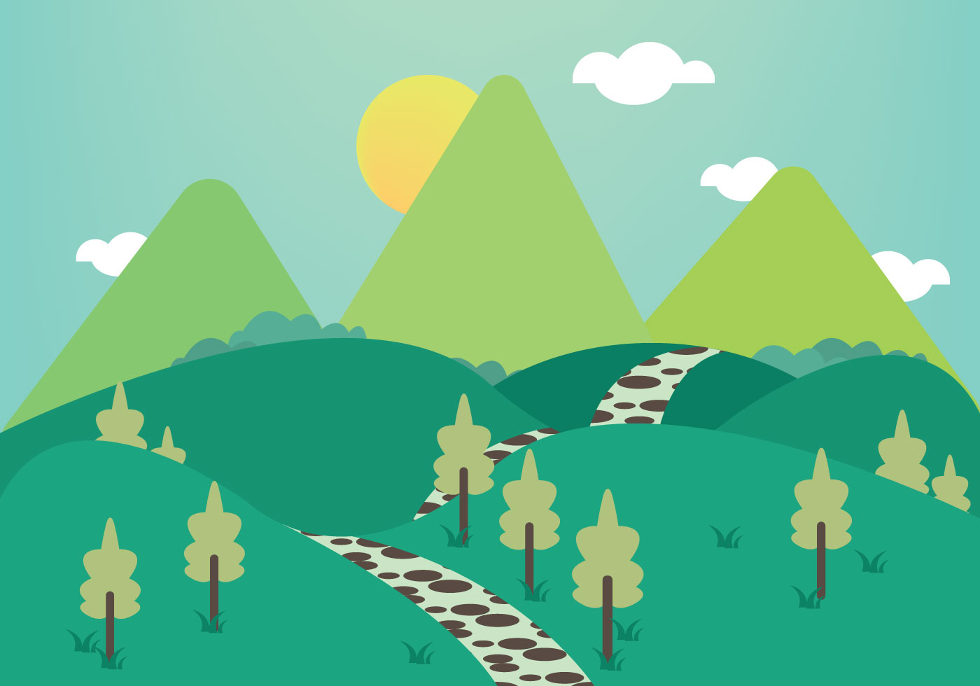 Free Stone Path Mountains Illustration Vector - Download Free Vector ...