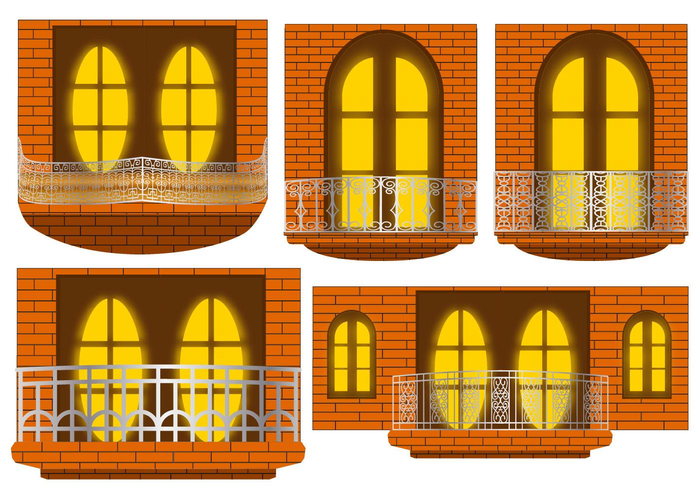 Balcony in the night vectors download free vector art for Balcony vector