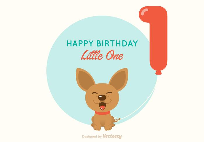 Chihuahua 1st Birthday Vector Card