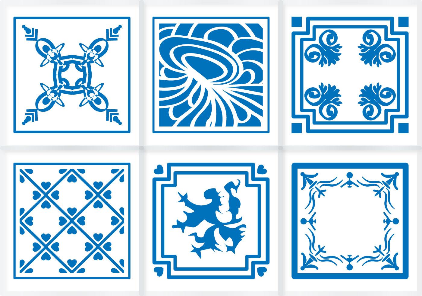 Indigo Blue Tiles Floor Ornament Vectors Download Free