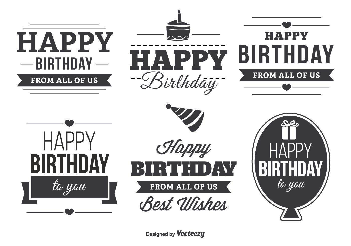 Happy Birthday Typographic Label Set Download Free