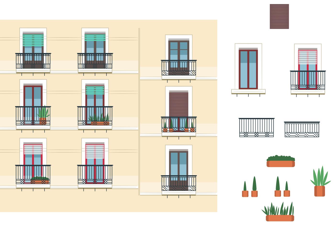 Windows and balcony vectors download free vector art for Balcony vector