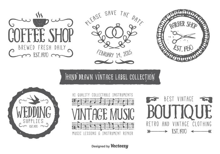 Hand Drawn Style Typographic Labels