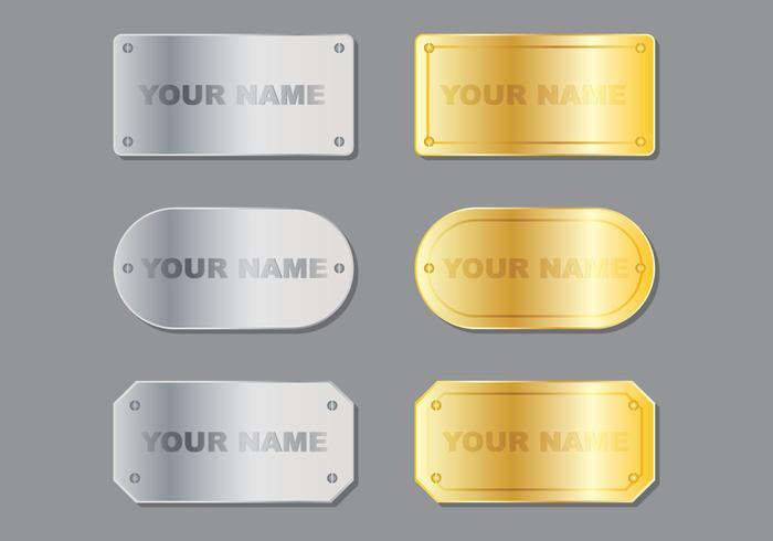 Plaque de nom métallique