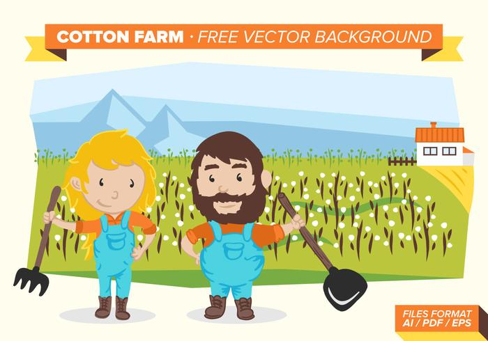 Cotton Farm Free Vector Background