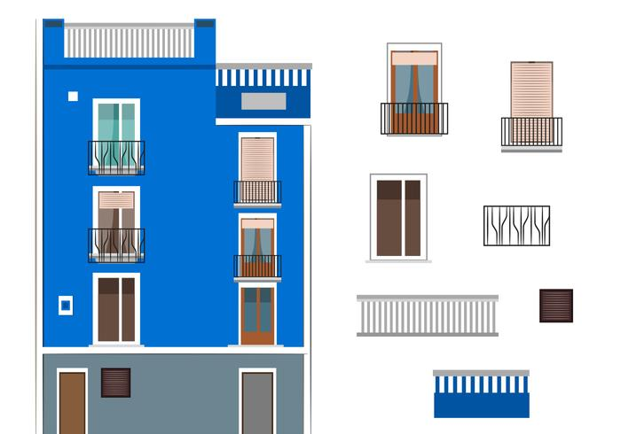 Vector Blue Building in Spain