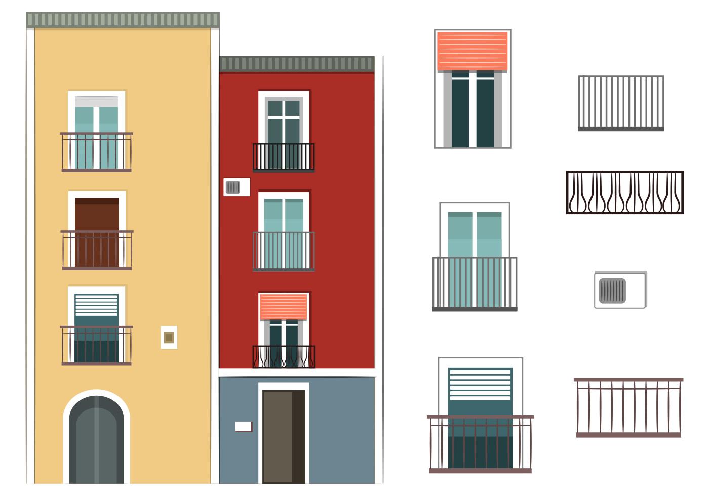 Colorful Building Vectors Download Free Vector Art
