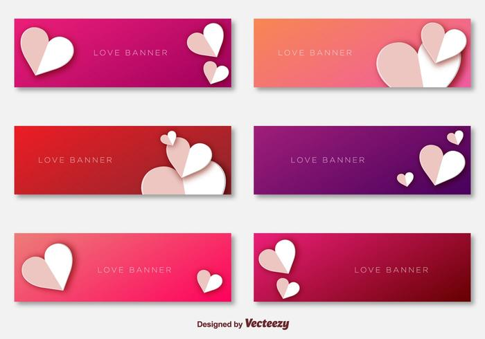 Love Banners Template Vectors