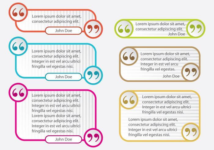 Bunte Zitat Markieren Textfeld Vektoren