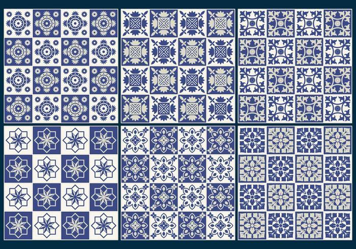 Blue Tiles Pattern Vectors
