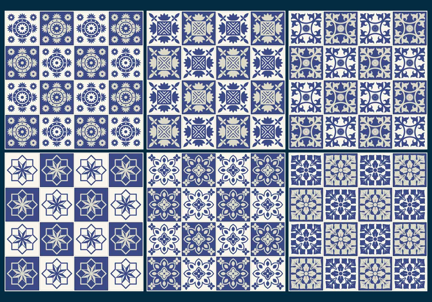 Blue Tiles Pattern Vectors Download Free Vector Art