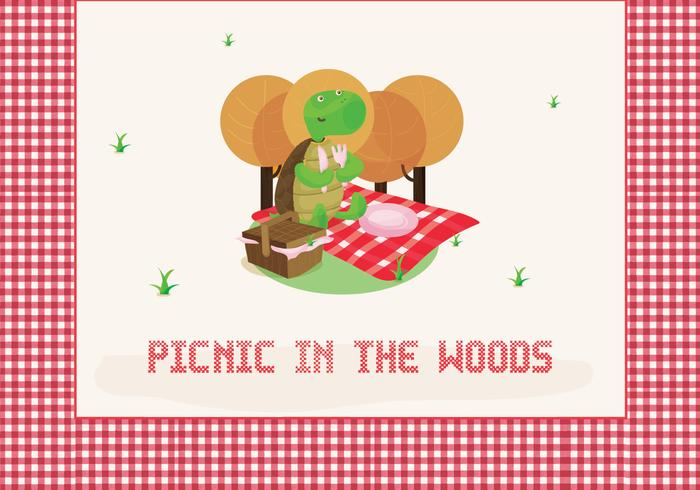 Picnic Illustration with Cute Tortoise Character