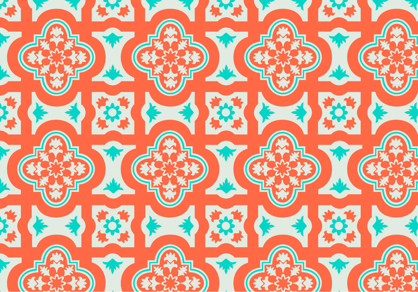 Orange And Teal Moroccan Pattern Background Vector