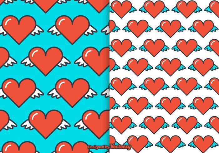 Gratis hjärtvingar vektormönster
