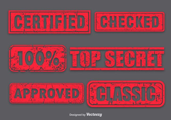Red Stamp Vector Set