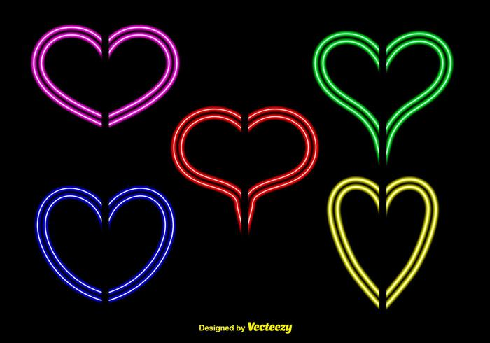 Neon Lights Hearts Vectors