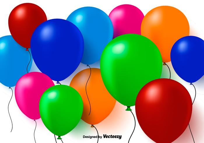 Colorful 3D Balloons Vector Background