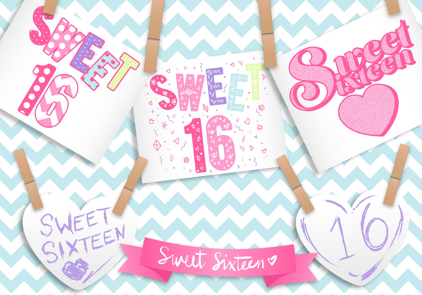 Sweet 16 Card Vector Illustration - Download Free Vector ...