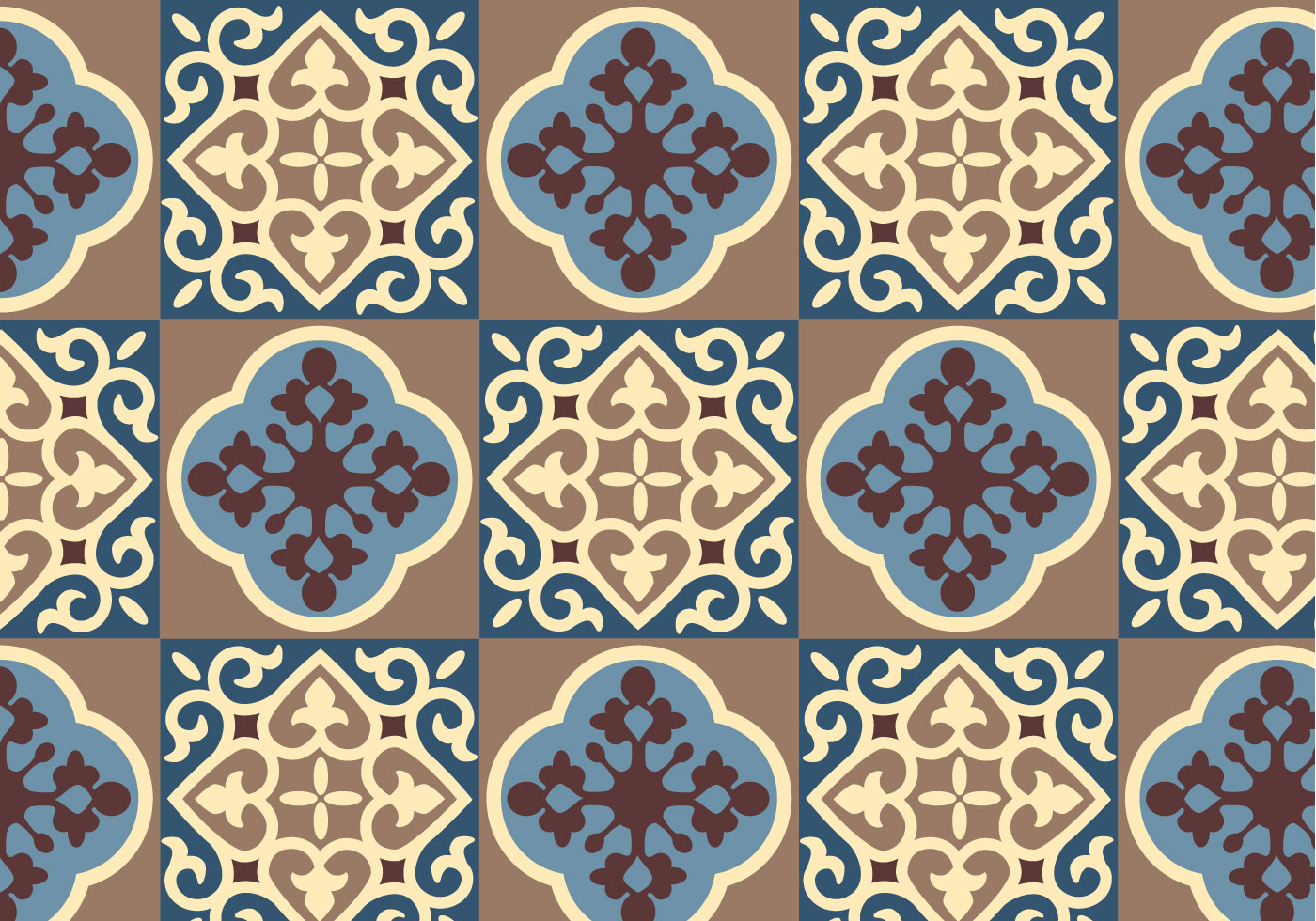 Blue Floral Pattern Vector Download Free Vector Art