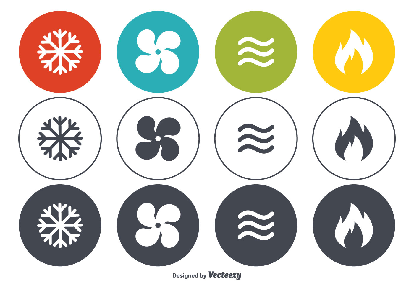 Hvac Vector Icon Set Download Free Art Stock Graphics Images Wiring Diagram Symbols Stencils