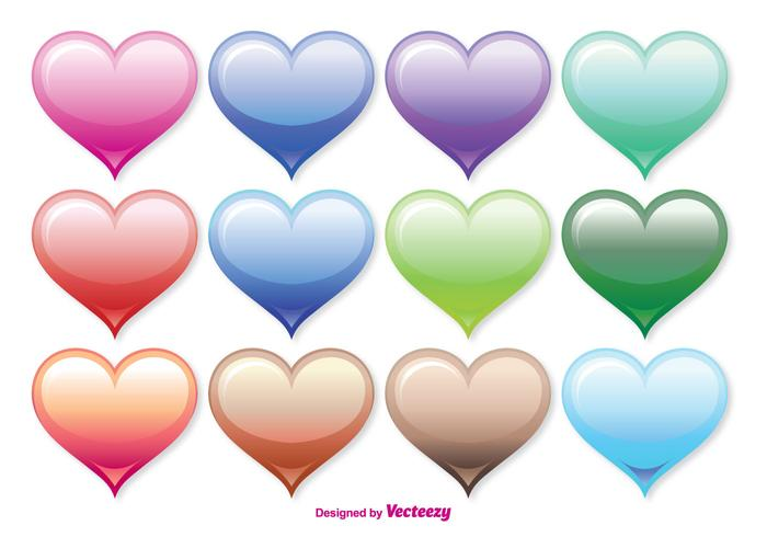 Assorted Color Heart Vector Set