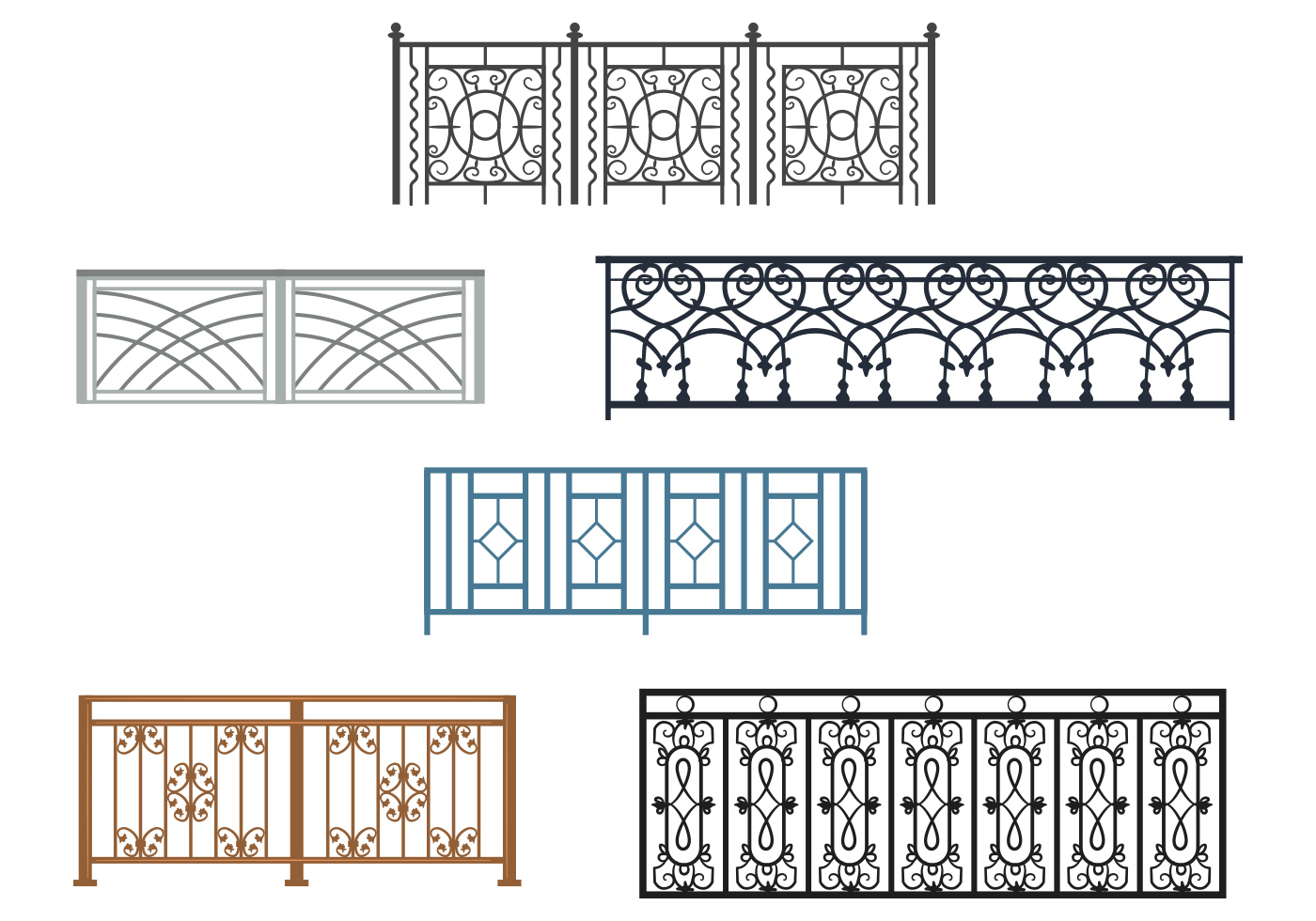 Curved Balcony Rails Vectors Download Free Vector Art