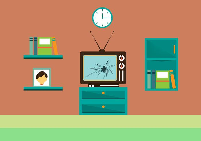 Free Cracked TV Screen Vector Ilustration