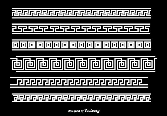 Greek Key White Border Vectors