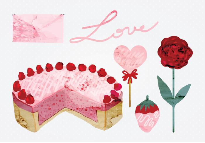 Vector Watercolor Valentine's Day Elements