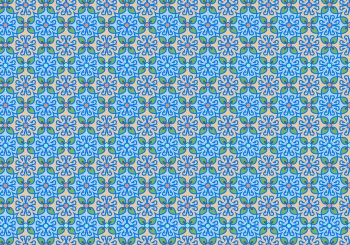 Blue Floral Mosaic Pattern
