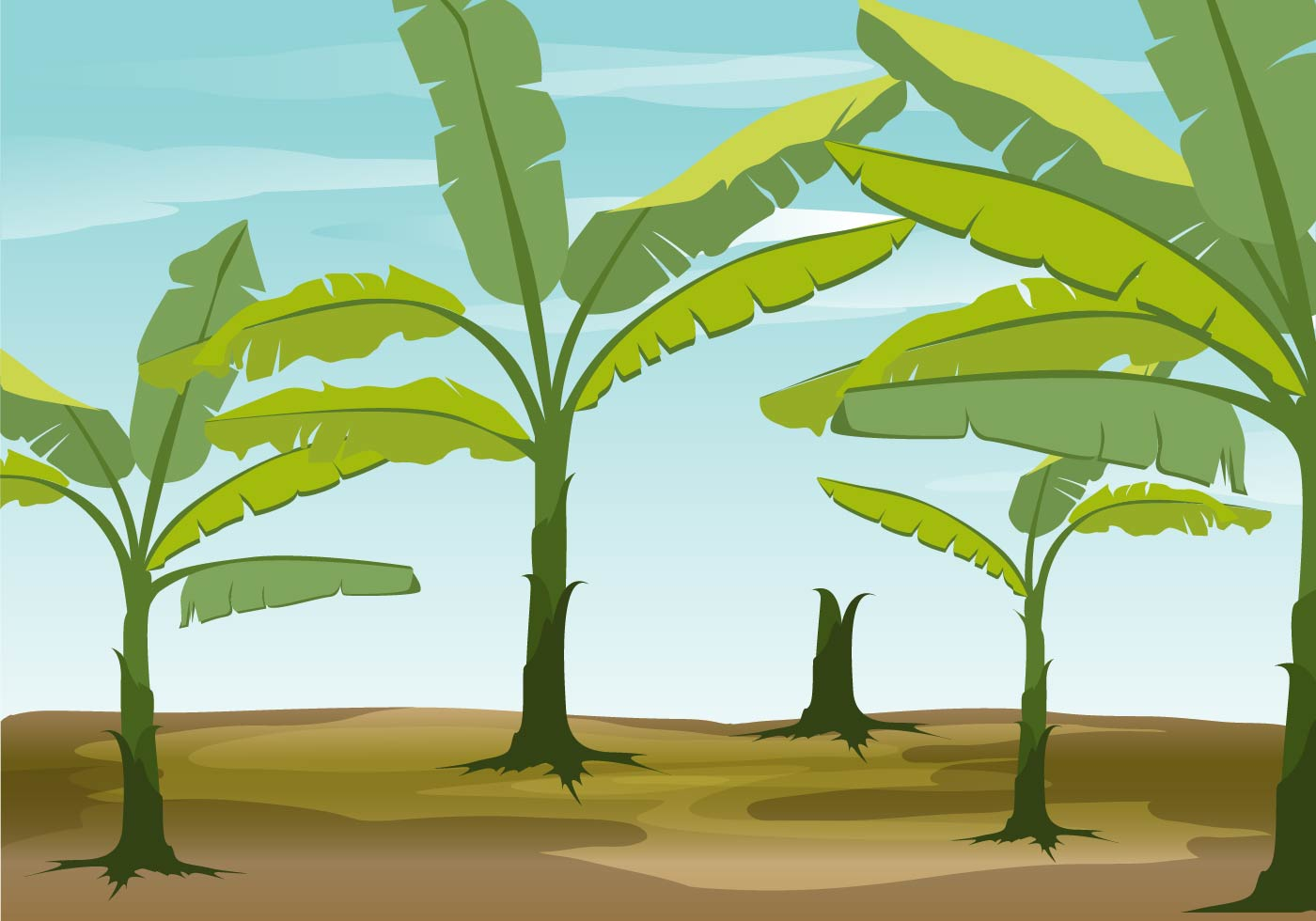 Banana Tree Vector Background - Download Free Vector Art ...